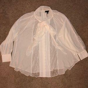 Lane Bryant 22/24 Chiffon/Lace blouse, cream, LS
